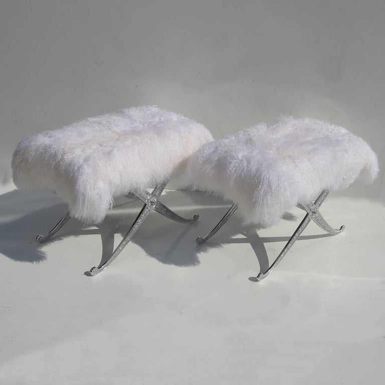 Hollywood Regency Style Bench in Polished Aluminum and Silky Fur 5