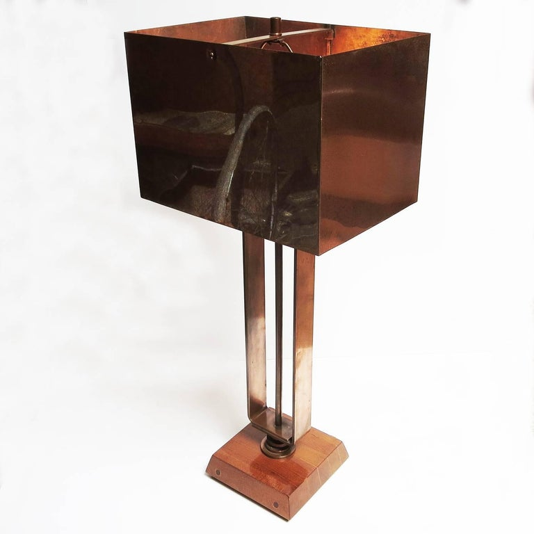 Art Deco Machine Age Copper Table Lamps 4