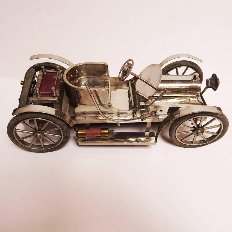 Detailed Automobile Handmade Folk Art, 1910, Car Model in Nickel Silver 2