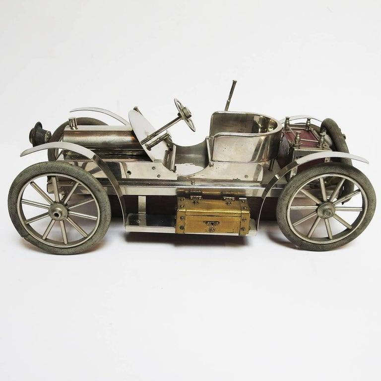 Detailed Automobile Handmade Folk Art, 1910, Car Model in Nickel Silver 3