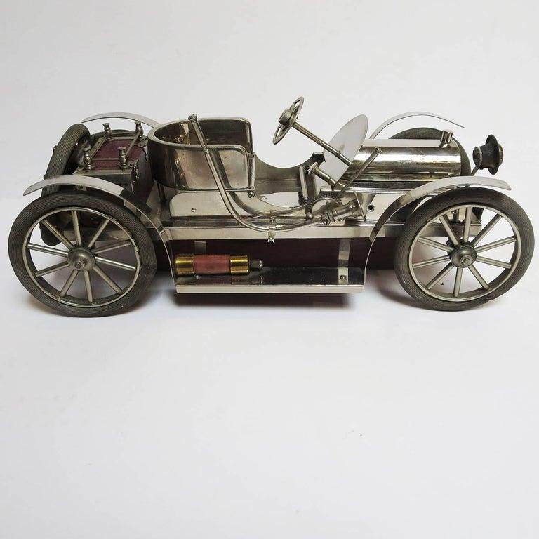 Detailed Automobile Handmade Folk Art, 1910, Car Model in Nickel Silver 4