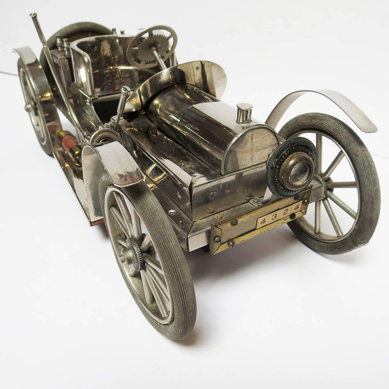 Detailed Automobile Handmade Folk Art, 1910, Car Model in Nickel Silver 5
