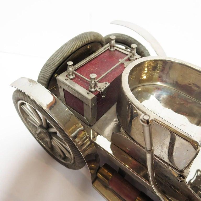 Detailed Automobile Handmade Folk Art, 1910, Car Model in Nickel Silver 6