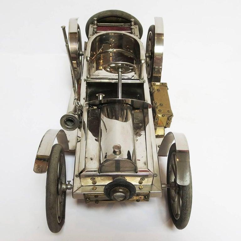 Detailed Automobile Handmade Folk Art, 1910, Car Model in Nickel Silver 7