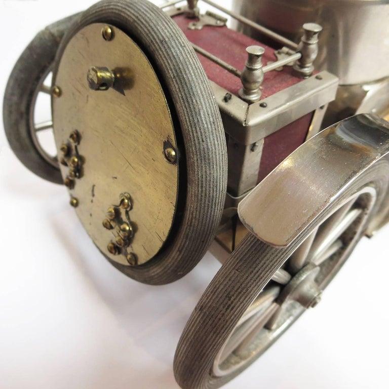 Detailed Automobile Handmade Folk Art, 1910, Car Model in Nickel Silver 9