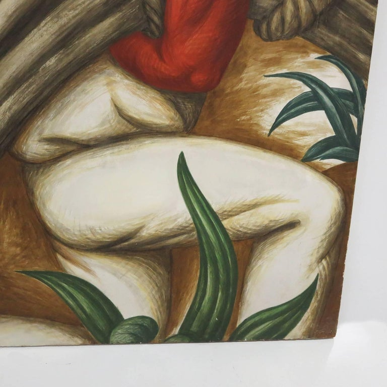 Hand-Painted WPA Mural Study for San Antonio Texas Post Office by Alois Fabry Jr., 1937 For Sale