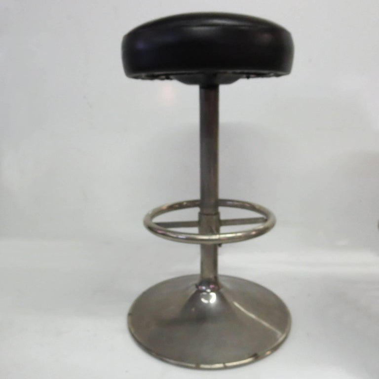 Industrial 1930s Bar Stools in Nickel Finish 4