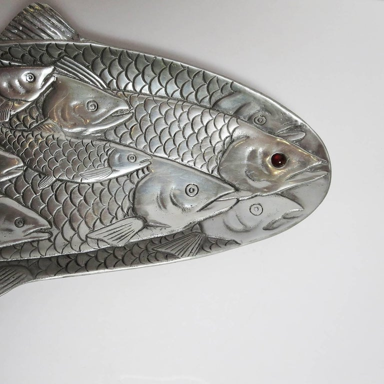 Hammered Aluminium Fish Platter by Arthur Court, 1986 2