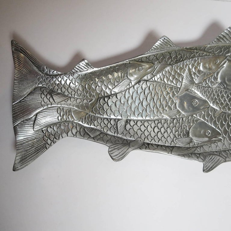 Hammered Aluminium Fish Platter by Arthur Court, 1986 3