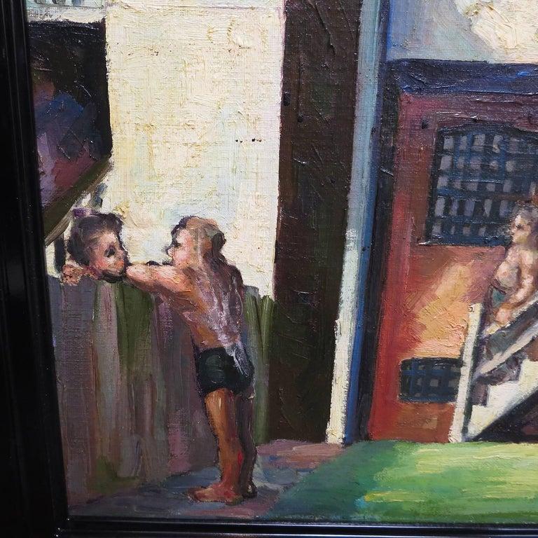 Original American Urban Scene Oil Painting by Thaddeus J. Haduch, 1947 2