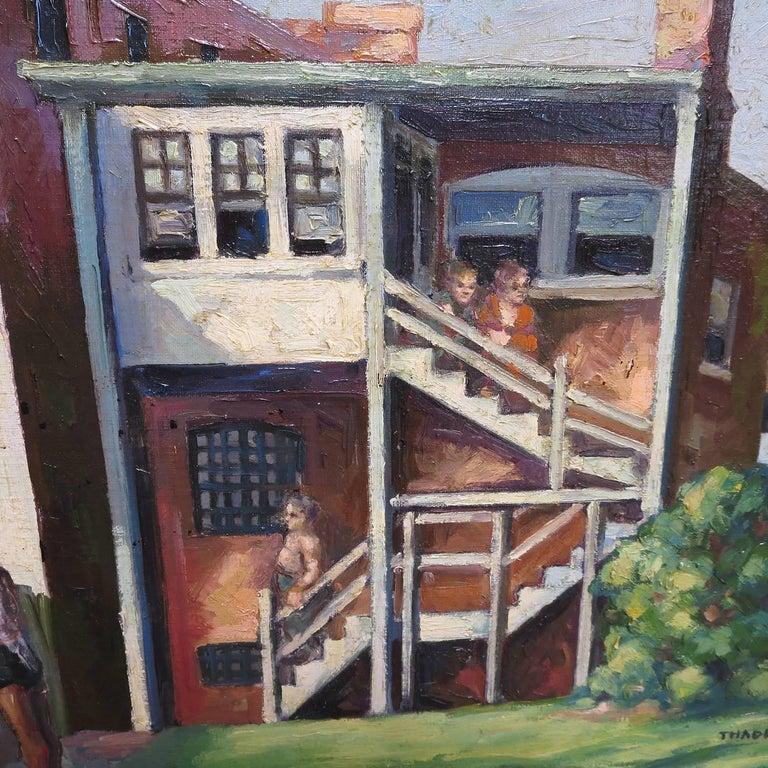 Original American Urban Scene Oil Painting by Thaddeus J. Haduch, 1947 3