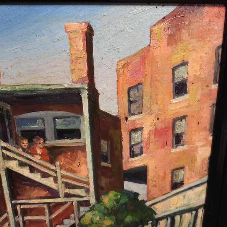 Original American Urban Scene Oil Painting by Thaddeus J. Haduch, 1947 4