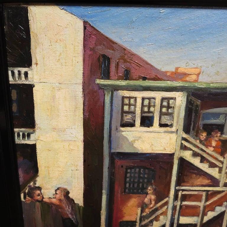 Original American Urban Scene Oil Painting by Thaddeus J. Haduch, 1947 5