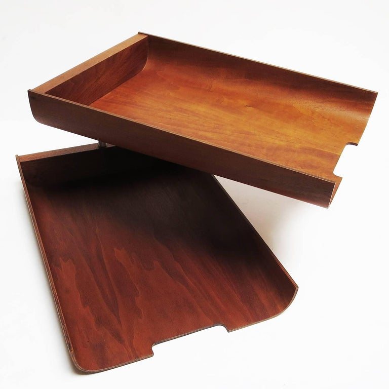 1960s Molded Teak Plywood Letter Trays by Martin Aberg for Rainbow Wood 2
