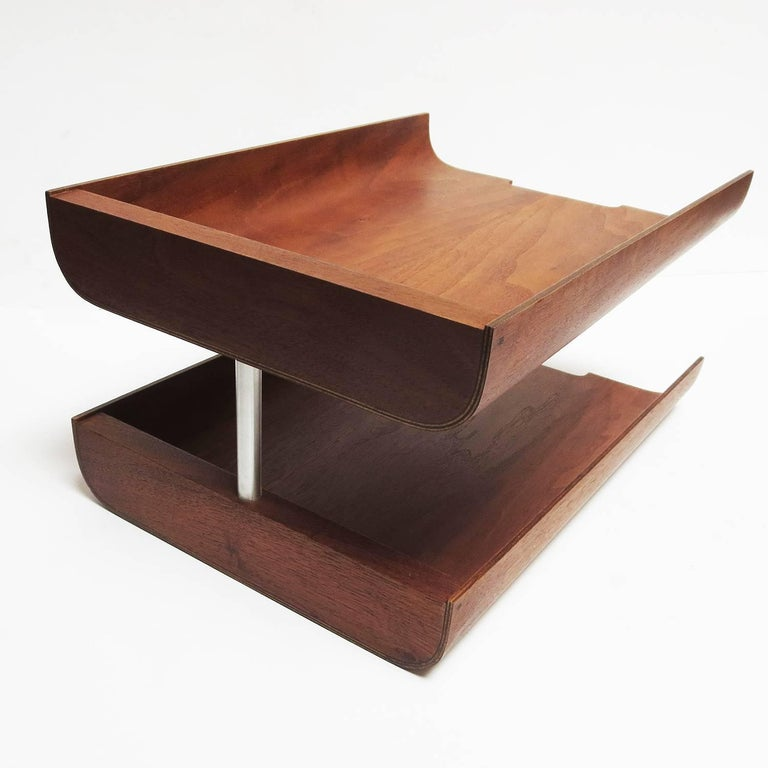 1960s Molded Teak Plywood Letter Trays by Martin Aberg for Rainbow Wood 3