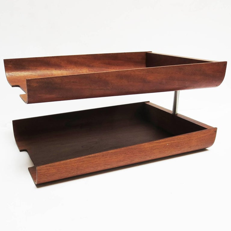 1960s Molded Teak Plywood Letter Trays by Martin Aberg for Rainbow Wood 4