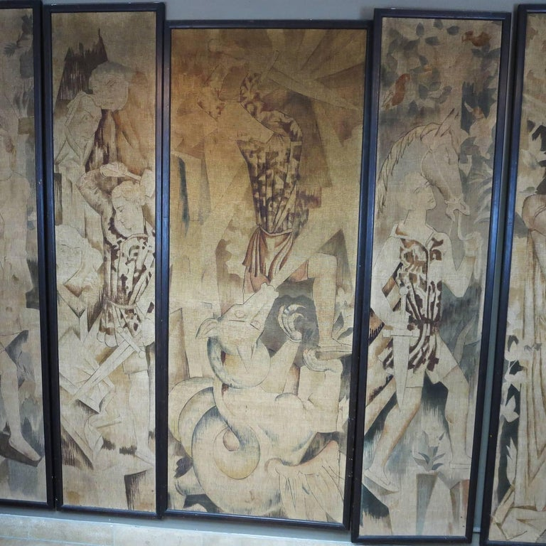 Art Deco Theatre Painted Tapestry Panels, Set of Five 2