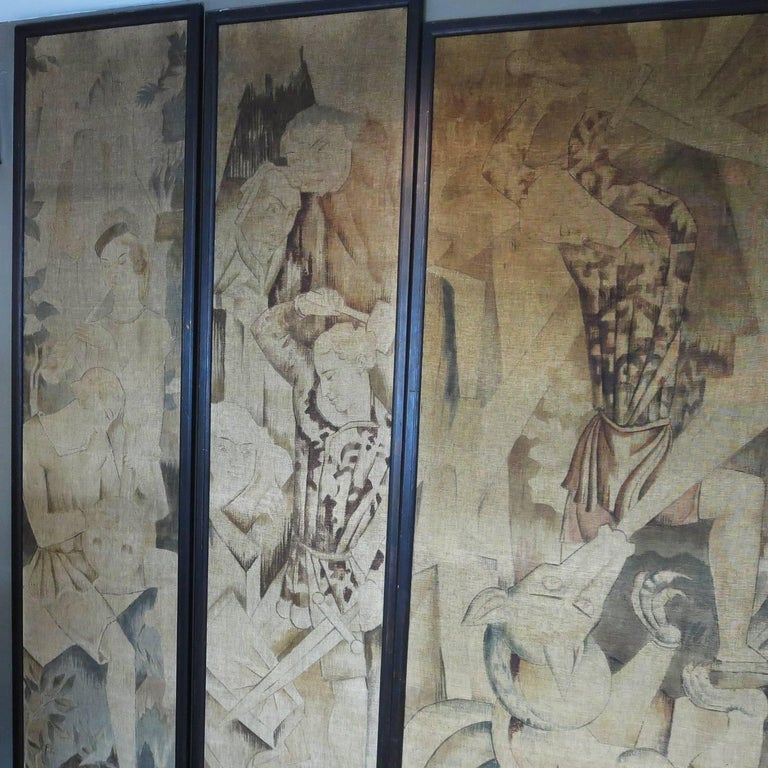 English Art Deco Theatre Painted Tapestry Panels, Set of Five For Sale