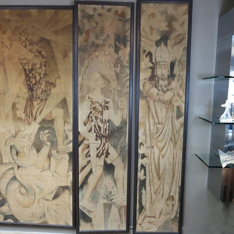 Art Deco Wall Panels: Art Deco Theatre Painted Tapestry Panels, Set Of Five For
