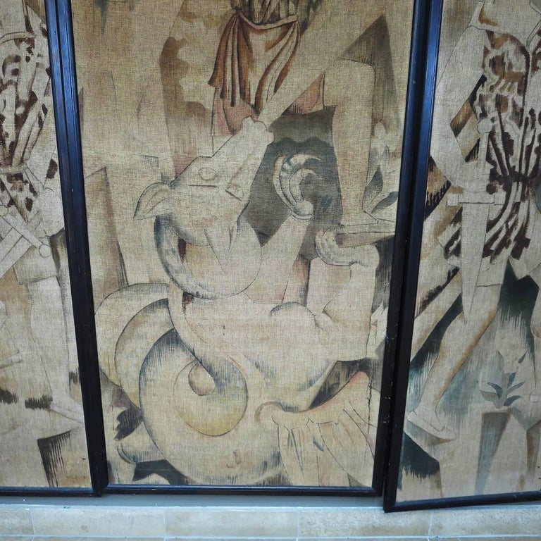 Art Deco Theatre Painted Tapestry Panels, Set of Five 5
