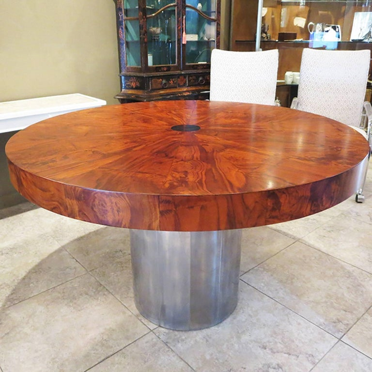 Mid-Century Modern Paul Evans Dining Table, Cityscape Burled Wood and Stainless Steel For Sale