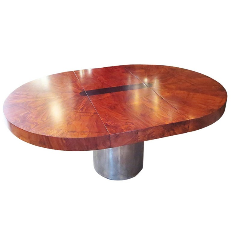 Lacquered Paul Evans Dining Table, Cityscape Burled Wood and Stainless Steel For Sale