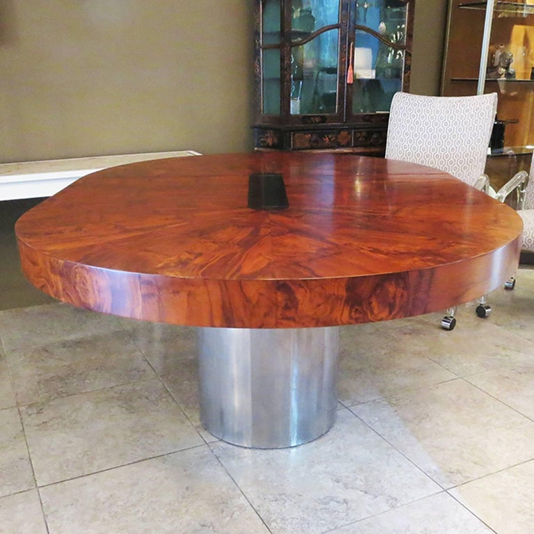 Late 20th Century Paul Evans Dining Table, Cityscape Burled Wood and Stainless Steel For Sale