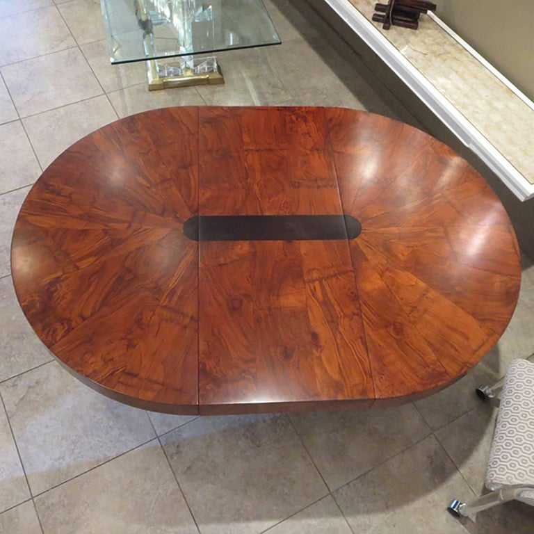 Paul Evans Dining Table, Cityscape Burled Wood and Stainless Steel In Excellent Condition For Sale In Los Angeles, CA