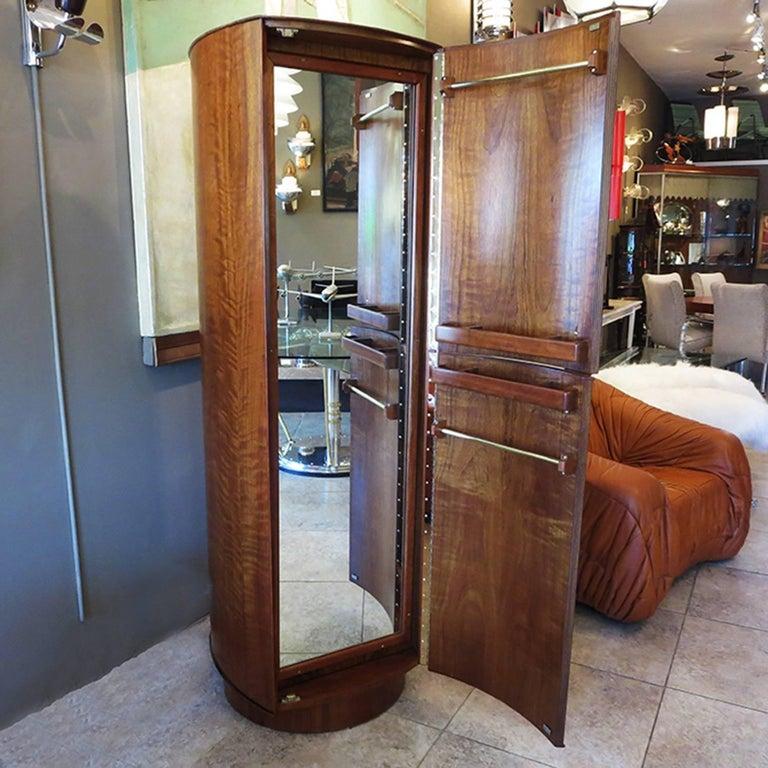 Mid-Century Modern Midcentury Walnut Revolving Valet Dresser Cabinet For Sale