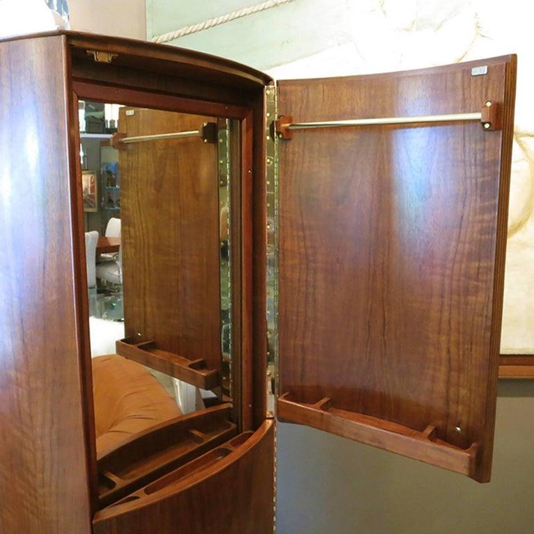 Lacquered Midcentury Walnut Revolving Valet Dresser Cabinet For Sale
