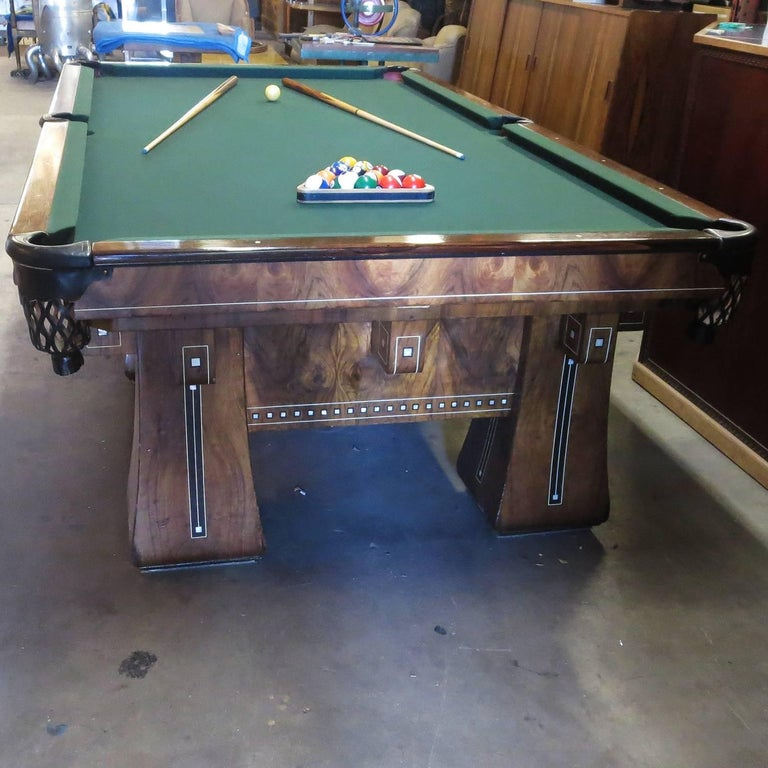 Arts and Crafts 1915 Brunswick Arcade Pool Table with Rare Six-Legged Base For Sale