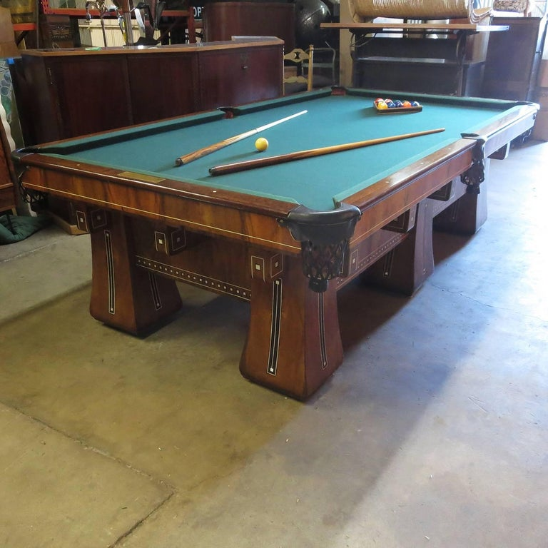 Lacquered 1915 Brunswick Arcade Pool Table with Rare Six-Legged Base For Sale