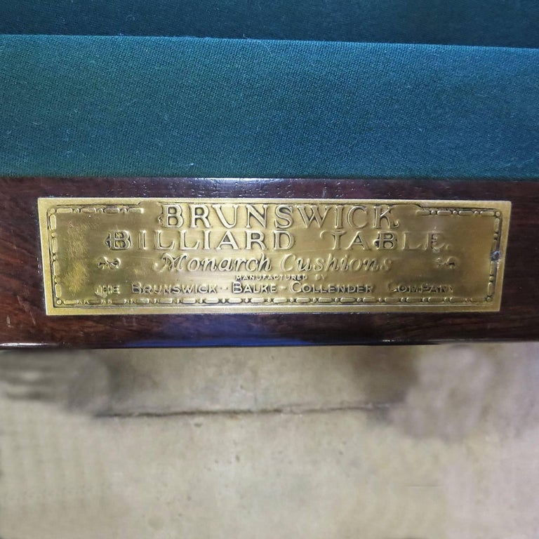 Wood 1915 Brunswick Arcade Pool Table with Rare Six-Legged Base For Sale
