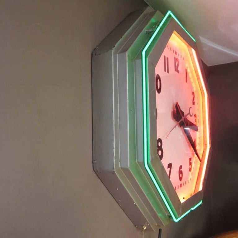 American Large Octagon Deco Neon Clock, 1930s For Sale