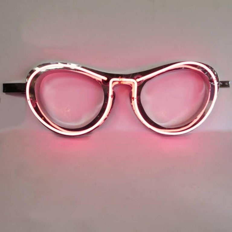 Mid-Century Modern Absolutely Fabulous 1950s Pink Neon Eyeglass Sign For Sale