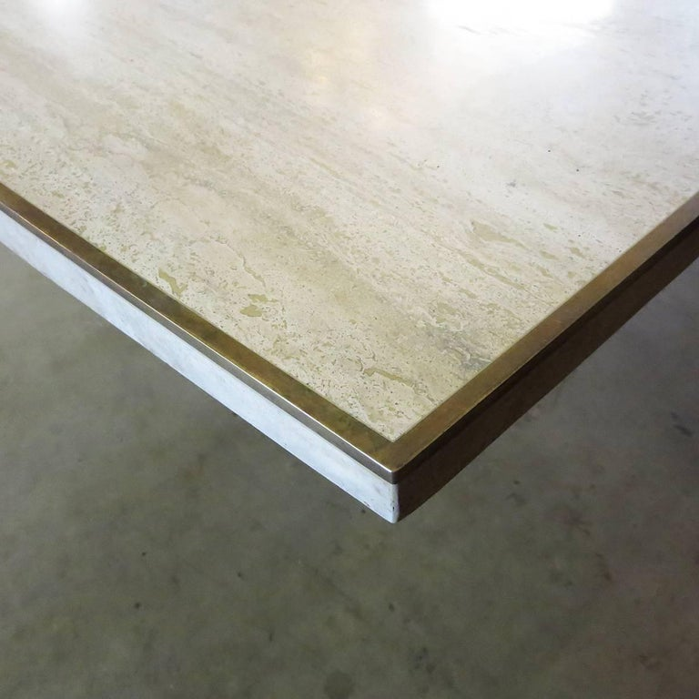 Mid-Century Modern Travertine Dining Table by Willy Rizzo for Jean Charles, 1970 For Sale