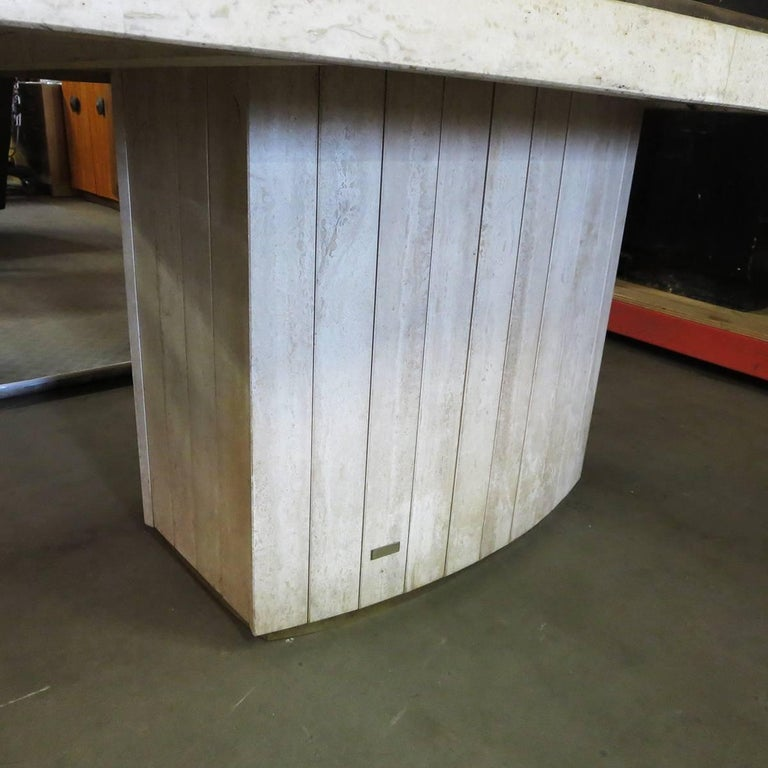 Italian Travertine Dining Table by Willy Rizzo for Jean Charles, 1970 For Sale