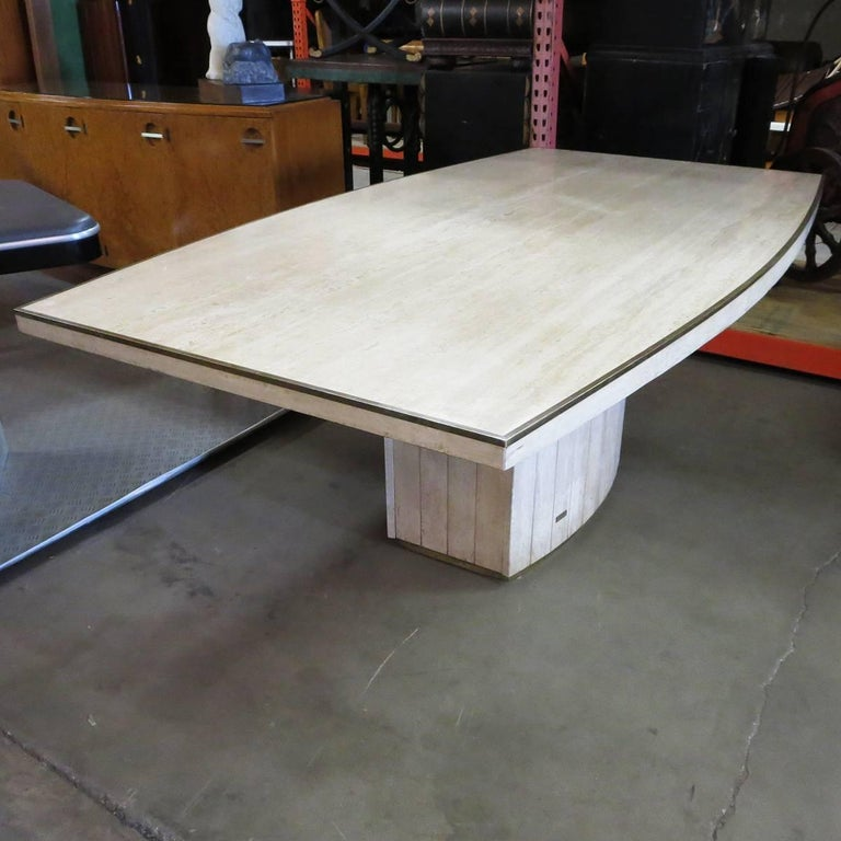 Travertine Dining Table by Willy Rizzo for Jean Charles, 1970 In Excellent Condition For Sale In Los Angeles, CA