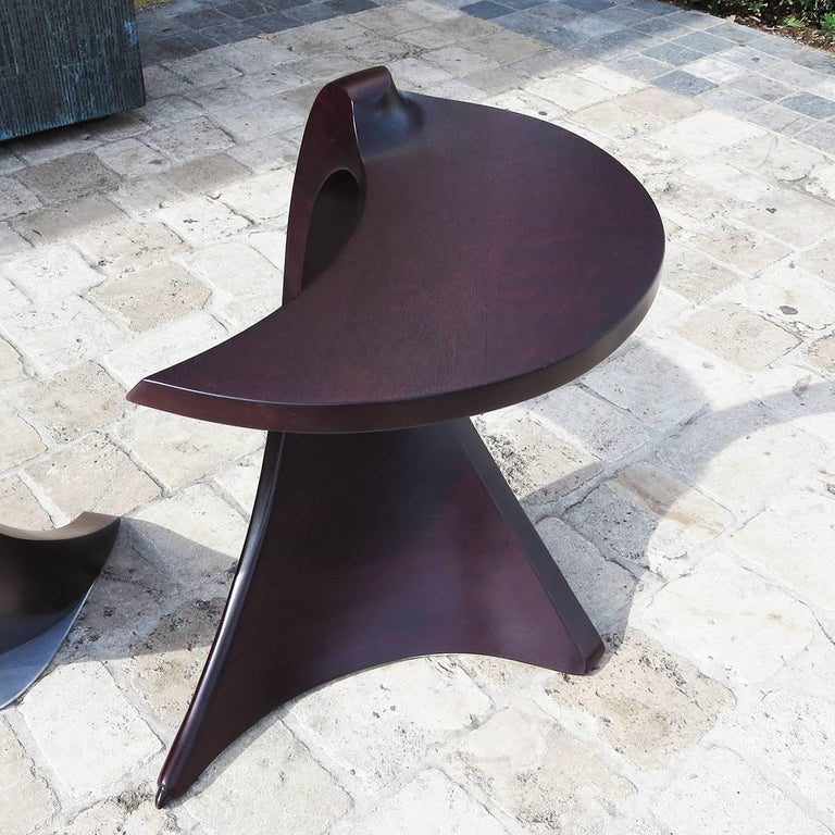 Hand-Carved 1960s Free-Form Purpleheart End Tables For Sale