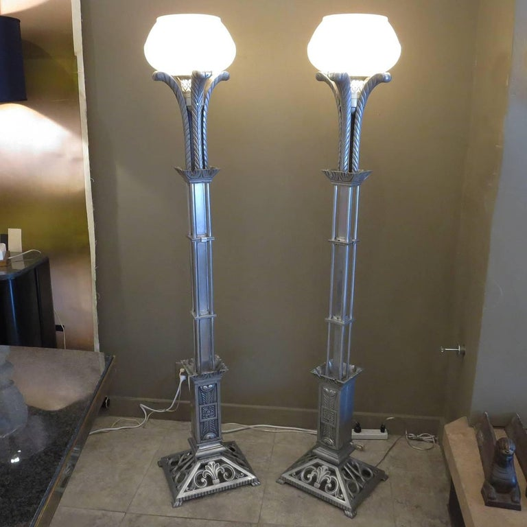 American Art Deco Torchere Floor Lamps in Cast Aluminum For Sale