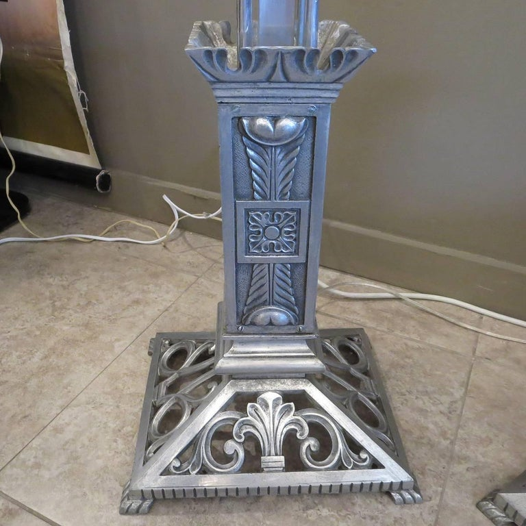Art Deco Torchere Floor Lamps in Cast Aluminum For Sale 2