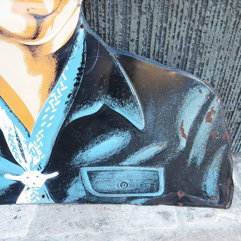 Mid-20th Century Hopalong Cassidy 1950s Tin Sign for Bond Bread For Sale