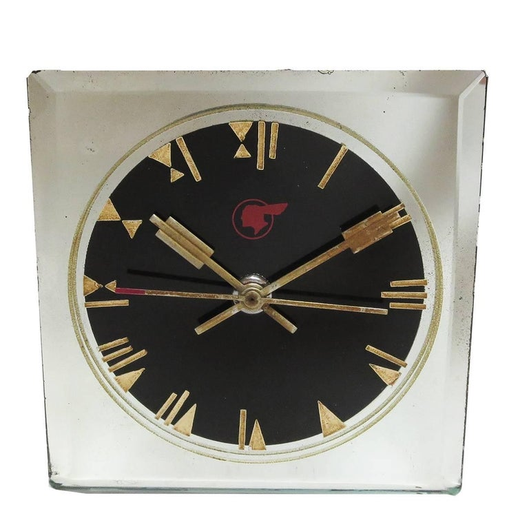 This fabulous clock was made in very limited production for executives of Pontiac Motors. The 1930s mirrored clock was made by Crystal Bent Fyrart clocks, with a movement by the Waltham Watch Company. Made from a single piece of glass, the edges are