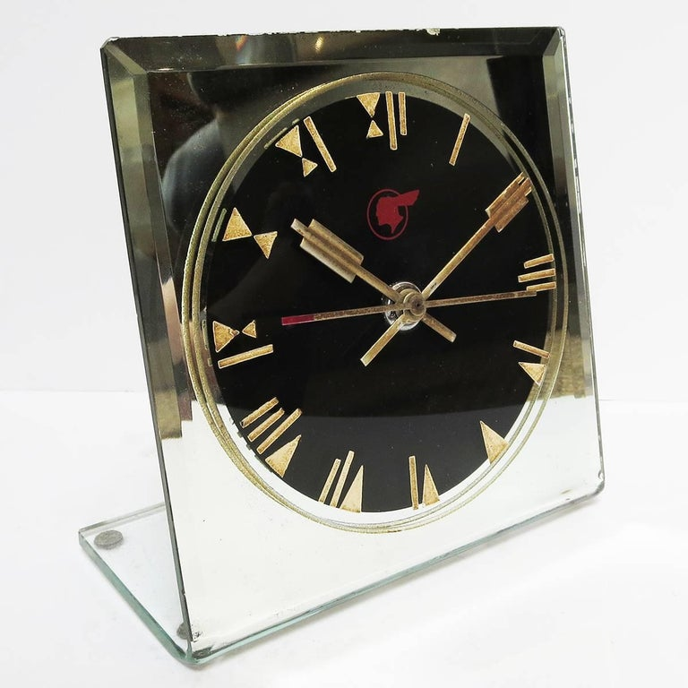 Glass Art Deco Pontiac Automobiles Executive Desk Clock For Sale