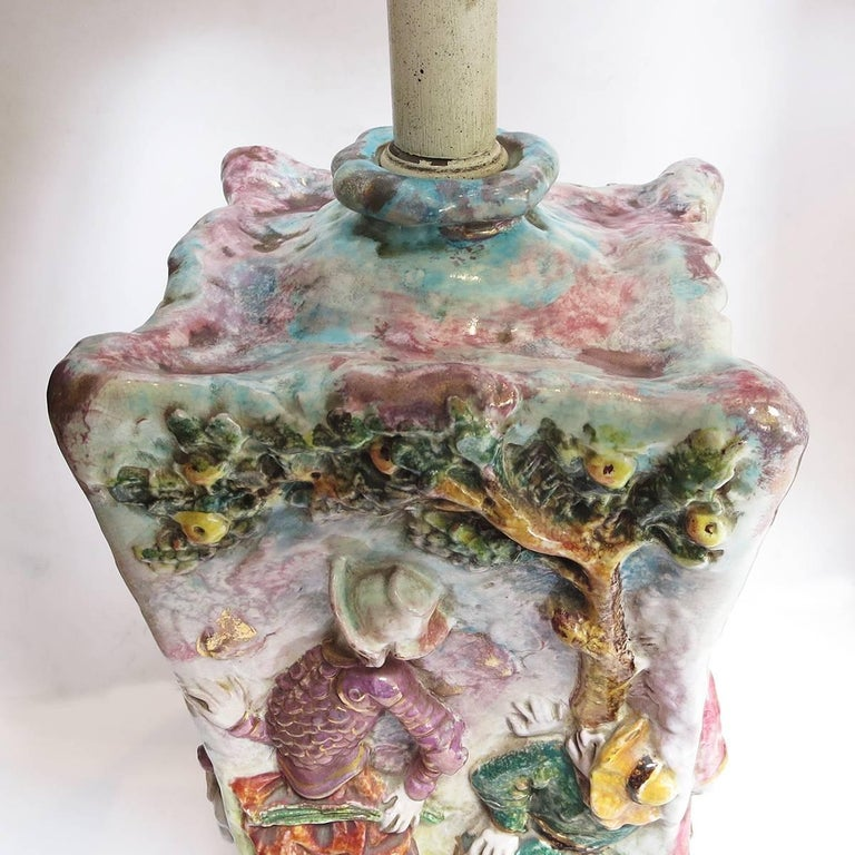 Midcentury Don Quixote Ceramic Table Lamps In Excellent Condition For Sale In Los Angeles, CA