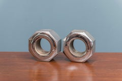 Bill Curry Design Line Nut Bookends Steel Signed California, USA, 1970s