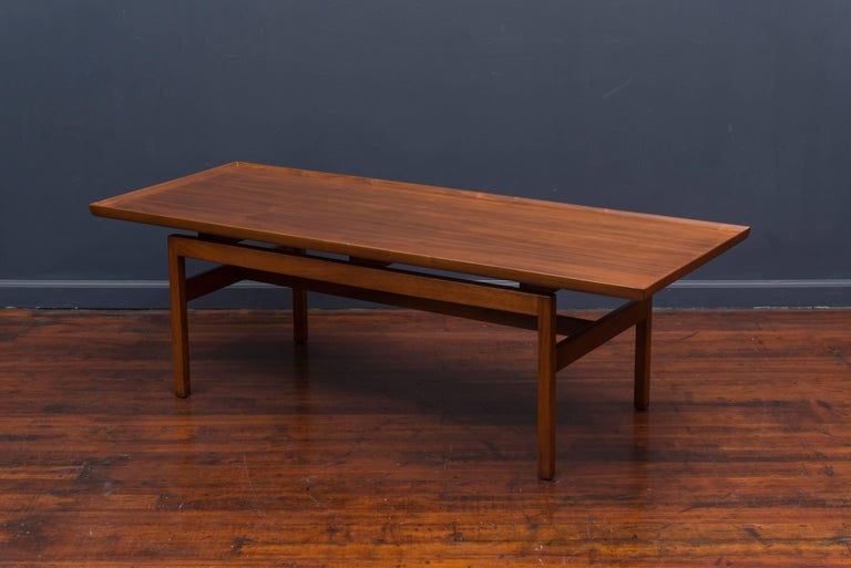 American Jens Risom Mid Century Walnut Coffee Table For Sale