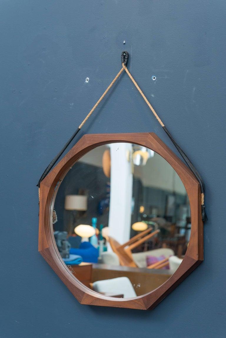 Midcentury hexagonal rosewood wall mirror, Italy.