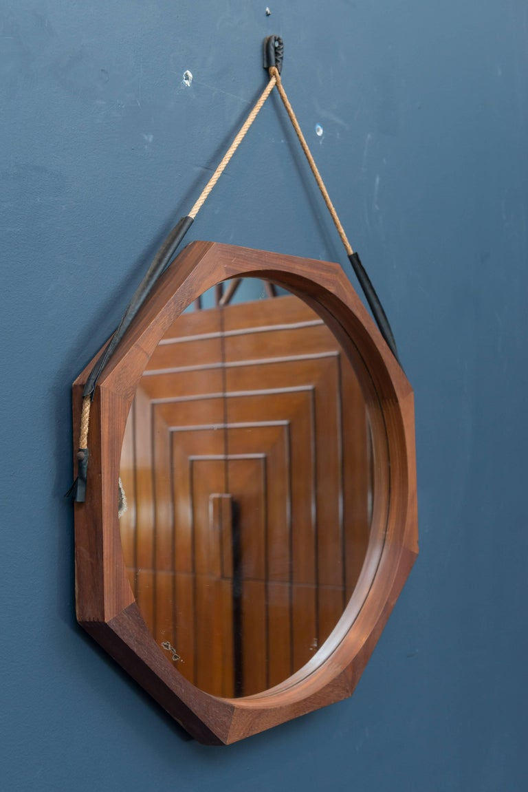 Rosewood Midcentury Hexagonal Wall Mirror, Italy For Sale