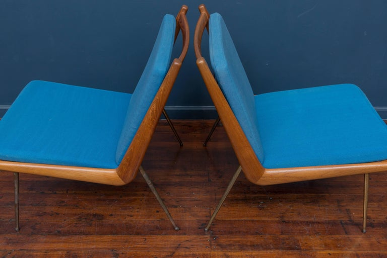 Danish Peter Hvidt & Orla Morgaard Nielsen Bommerang Lounge Chairs For Sale